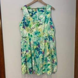 Calvin Klein watercolor fit and flare dress 16